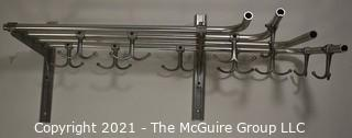 "Vintage Trolley or Train Car Deco Aluminum Tube Shelf Rack with Hooks. Measures 24""."