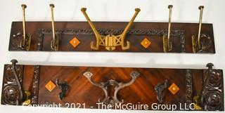 """Two (2) Repurposed Wall Mount Hat Racks Made From Vintage Parts, Including Cast Iron Hooks and Bakelite Decoration.  Each measures 31"""" L x 6"""" T."""