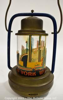 "Vintage Art Deco 1939 New York World's Fair Brass Battery Lantern. Measures 8""T."