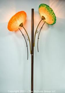 """Mid-Century Modern MCM Tension Pole Lamp With Two (2) Spun Fiberglass Flower Shades.  Missing tension pole base.  Measures 52""""T."""
