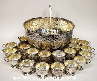 Vintage: Ornate Chased and Electroplated Copper Punch Bowl, Ladle with Cups