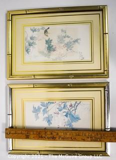 Two (2) Framed Under Glass Asian Prints with Gilt Bamboo Frames.