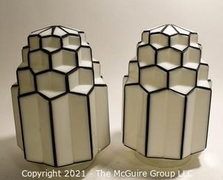 """Two (2) Vintage Art Deco Milk Glass Celling Mount Hall Light Shades.  Machine Age.  Hardware not included.  Measure 10""""T."""
