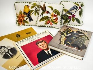 Miscellaneous Lot Including Three Needlepoint Pillows, JFK LP Record & Art Deco Book.