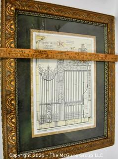 """Gilt Framed Under Glass Trinity College Print of Gate.  Measures 32"""" x 26""""."""