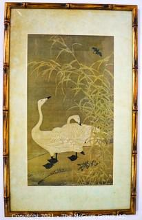 """Gilt Bamboo Framed Under Glass Asian Print of Two White Geese.  Measures 24"""" x 14""""."""