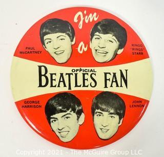 """Vintage Authentic 1964 """"I'm a Official Beatles Fan"""" Pin made by NEMS Enterprises LTD .  Measures 4"""" in diameter."""