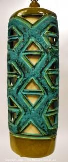 """Mid Century Modern Blue & Green Art Pottery Pierced Hanging Swag Lamp.  Measures 24""""T & 10""""W"""