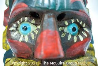 """Hand Carved and Painted Tribal Mask with Glass Eyes, Ethnographic.  Measues 10"""" x 8"""""""