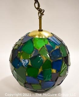 """Mid Century Ceiling Mount Blue & Green Mosaic Glass Globe Light in Working Condition.  Measures 14"""" in diameter."""