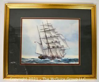 "Framed Print of Large Sailing Ship, uncredited in Gold Frame; 22 x 17"""