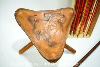 Bird Head Cane - Archery arrows in original box and leather tripod collapsible seat.