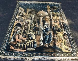 "Vintage Silk Thread Machine Made Rug, made in Belgium; Middle Eastern Market Scene. Measures 180 x 49"""