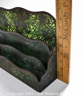 """Antique Art Nouveau Tiffany Studios, NY, Pine Needle Four Tier Letter Holder Made of Green Mottled Slag Glass and Etched Bronze.  It measures 13""""L x 9""""T x 4""""W."""