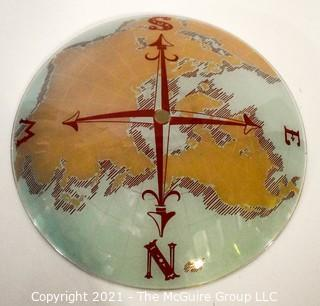 """Vintage Dome Glass Shade for Ceiling Mount Lamp, Reverse Painted with Globe Map and Northern Compass Points. Measures 15""""D."""