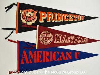 Three (3) Vintage Felt College Pennants - Harvard, Princeton & American University.