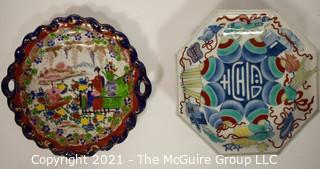"""Two (2) Hand Painted Shallow Porcelain Asian Bowls; One with Chopmarks, One with Japanese Spinning Tops Motif.  Measure 10"""" in Diameter."""
