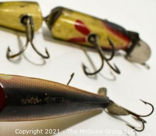 """Vintage Lot of Two (2) Creek Chub Porter Pop-stop 5"""" AND Pixie Pike 9"""" Glass Eyed Fishing Lures. One Jointed."""