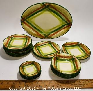 Set of Vintage Vernonware Tam O'Shanter Pattern Porcelain China Dishware From Vernon Kiln, California.  Inclues 21 Pieces.