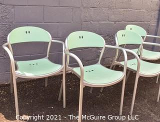 """Set of Four (4) Mid Century MCM Thonet """"Pamplona"""" Modern Arm Chairs with Blue Seats and Backs and Aluminum Sides."""