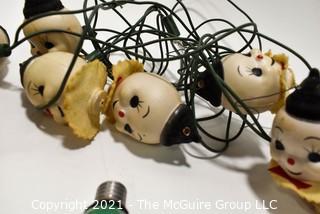 Vintage Christmas Decorations.  Includes Plastic Snowman Lights.