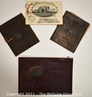Group of Four (4) Antique North Carolina College of Agriculture & Mechanic Arts (A&M), now North Carolina State.  Ephemera.  Includes Leather Bound Graduation Commencement Programs and 1900 Calendar.