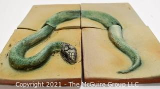 """Set of Four (4) Hand Thrown Matte Finish Tiles with Serpent Decoration.  Each measures 4""""x 4"""""""