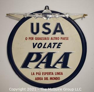 """Vintage Pan Am Airlines (PAA) Round Card Board with Silver Detail Gate Sign in Italian. Reads """"USA Or To Any Other Country PAA To Fly The Most Experienced Airline In The World"""".  Measures 11""""D."""