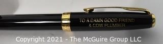 Gold Nib Parker Fountain Pen with Embossed Dedication to Friend & Veterinarian, New in Box.