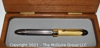 Silver and Gold Toned Writing Pen in Wood Box