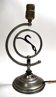 Chrome Art Deco Table Lamp with Greyhound Centerpiece.