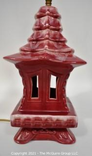 """Vintage Royal Haeger Art Pottery Red Japanese Pagoda Table Lamp with Finial.  Chip to Finial Top.  Measures 26"""" tall with shade harp."""
