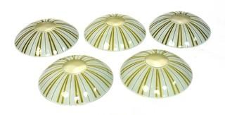 """Five (5) Mid Century Modern Glass Ceiling Mount Chandelier Shades.  Hardware not included. Each measures 8""""D."""