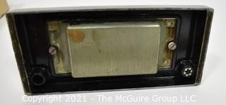Art Deco Chrome and Bakelite Desk Set Pen Holder with Rocking Blotter and Original Box.