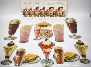 Collection of Vintage Diner Menus and Food Decorations.  New & Unused.