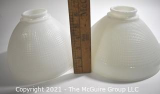 Vintage Three (3) White Milk Glass Lamp Shades.  Hardware not included.