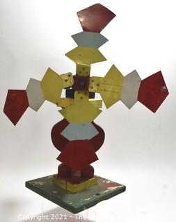 "Primitive Artisan Made Folk Art Whirligig.  Measures 15""T"