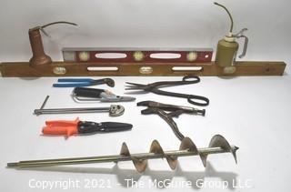 Hand Tools: Grouping including Ground Screw Drill and Oilers