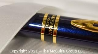 Waterman Paris Hemisphere Blue with Gold Accent Ballpoint Pen; New in Box.