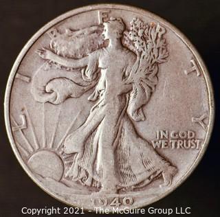 Coins: Silver: Walking Liberty Half Dollar: 1940-P
