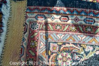"""Vintage Hand Knotted Wool Rug with Center Medallion and Border Pattern on Blue Background.  Measures 105"""" x 71"""""""
