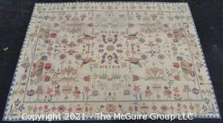 "Vintage Flatwoven Bessarabian Kilim Rug with Pastel Folk Art Bird Motif on White Background; 102 1/2"" X 139"""