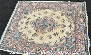 """Vintage Wool Rug with Blue Medallion on White Ground.  Has been cleaned, but some discoloraton.  Measures 124"""" x 94"""".   Measures 124"""" x 94""""."""