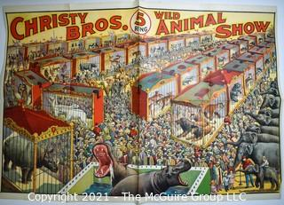 """Original Vintage Christy Bros Five (5) Ring Wild Animal Show Circus Poster, Riverside Print Co. Chicago.  Measures 28"""" X 40"""". Split on one crease."""