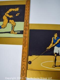 """Set of Three (3) Vintage Original Woodblock Prints of Various Athletes Mounted on Board. Unsigned.  Each Measure 11"""" x 22"""""""
