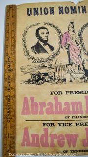 """Original Colored Lithograph of 1864 Presidential Campaign Poster of Republican Abraham Lincoln and Democrat Andrew Johnson running on the National Union Party Ticket.  From the Estate of Oscar Deloss Norling, who acquired the piece from the Stevens-Robertson Gallery, W 57th St, NY NY in the 1960's.   Measures 13 1/2 x 18 1/4""""T"""