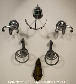 Group of Art Deco Mid Century Chrome and Brass Wall Hooks and Door Knocker.