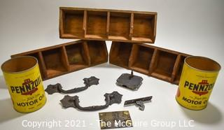 Vintage Group of Three (3) Wooden Car Parts Bins, Two (2) Vintage Pennzoil Oil Cans and Vintage Lockset with Key.