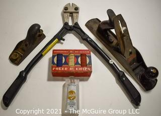 Group of Vintage Items Including Bolt Cutter, Wood Planes and Box of Vintage Poker Chips