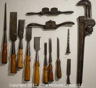 Group of Vintage Carpenter and Hand Tools Including Wood Chisels, Monkey Wrench and Draw Shave.